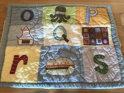 Pottery Barn Kids Multi Colors ABC Alphabet Letters Quilted Sham Green Gingham