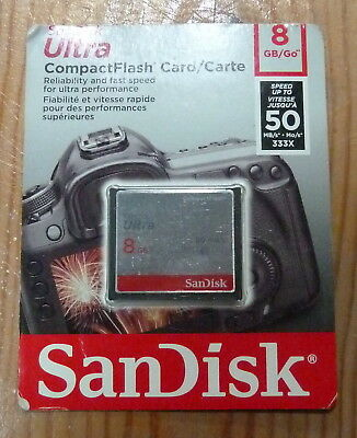 CARTE COMPACT  FLASH SANDISK ULTRA 8GB 50Mb/s NEUVE