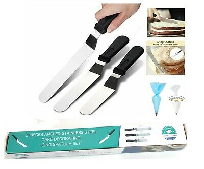3 pcs Stainless Steel Spatula Palette Knife Set Cake Decorating Tools Kit
