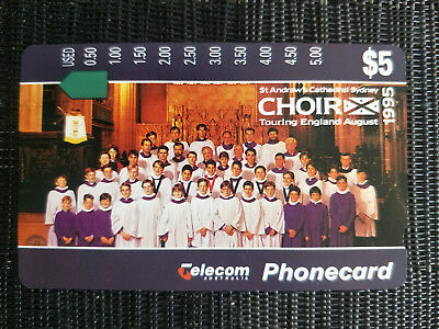 Mint Australian Phonecard St Andrew's Cathedral Sydney Choir Prefix 754