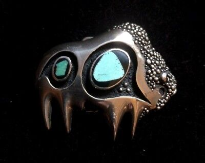 Southwest Buffalo Belt Buckle WITH TURQUOISE& ONYX Silver 3D GOLDEN ERA
