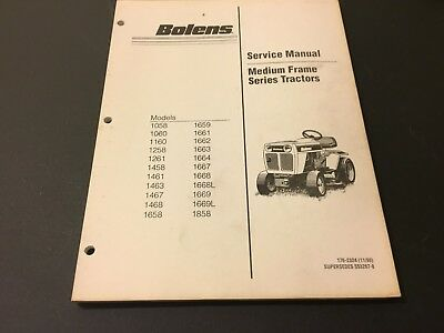 bolens medium frame tractors service manual 1058 - 1858