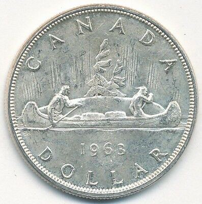 1963 Canada 80% Silver Dollar Exact Coin Shown