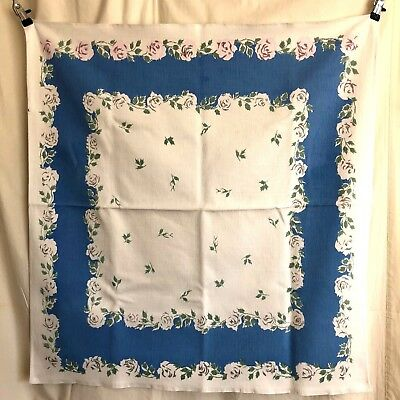 VTG Tablecloth Floral Print Roses w/ Green Leaves Blue / White Background ~32x35