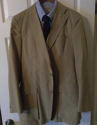 JOHN CUPP TAN POPLIN COTTON TRAVEL JACKET 3/2-Button Men's 40 Long TRAD IVY EUC