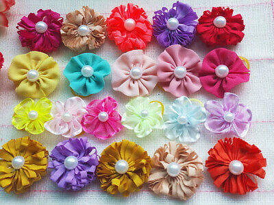 40pcs Cute Small Pet Cat Dog Hair Bows Rubber Bands Grooming Accessories