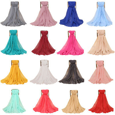 Women Crinkle Lady Fashion Long Voile Scarf Wrap Shawl Large Scarves Candy Color
