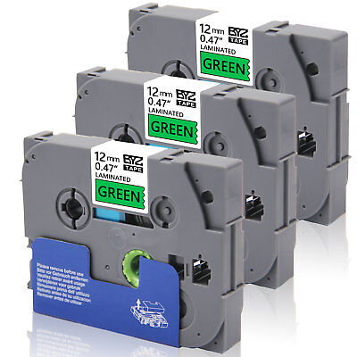 """3PK TZe731 Compatible/Brother 12mm 0.47""""Black/green Label Tape  P-Touch PT-D450"""
