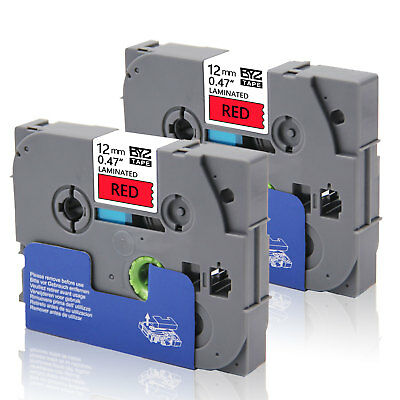 """2PK TZe431 Compatible/Brother 12mm 0.47""""Black/Red Label Tape  P-Touch PT-D450"""