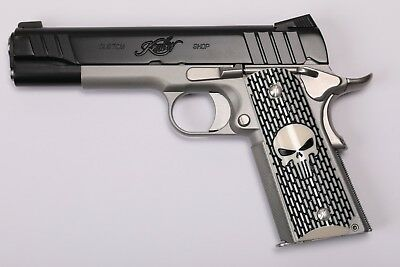 1911 Custom Grip Laser Engraved Punisher Kimber Colt S&W Remington Taurus Randal