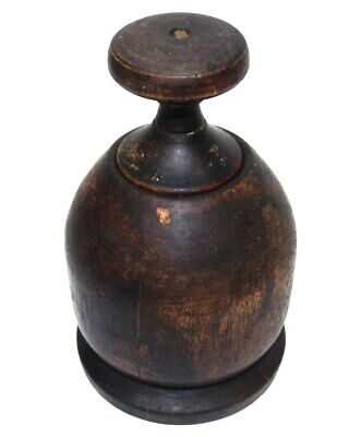 Primitive Antique Early Carved Treen Wood Burl Lidded Jar Snuff Box Container