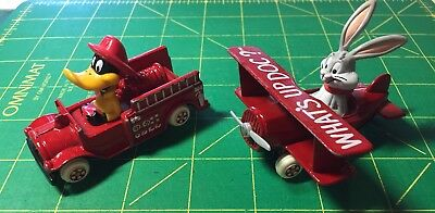 2 1988 Ertl Looney Tunes Diecast Vtg Daffy Duck Fire Truck & Bugs Bunny Airplane