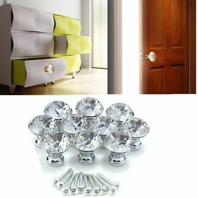 Crystal Glass Door Knob Knobs Drawer Kitchen Cupboard Cabinet Diamond Handles