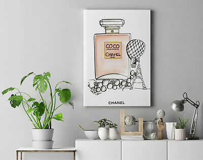 "Framed Canvas ""Chanel Coco Perfume"" Perfect For Home/Shop Decor. Ready To Hang"