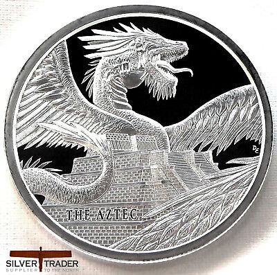 The Aztec Dragon 1oz World of Dragons Silver Bullion Round unc: