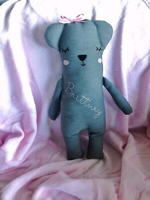 Personalised Handmade Soft Toy Teddy Nursery Baby Gift Any Name embroidered  New