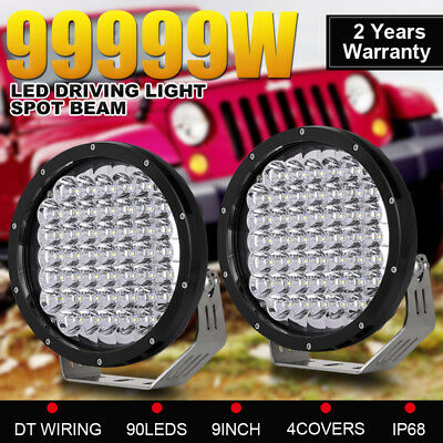 99999W Pair 9inch CREE Round Driving Lights SPOT Black Lamp Offroad Jeep SUV 4x4