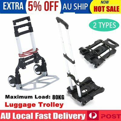 Portable Folding Luggage Cart Hand Trolley Truck 40-80KG Cargo Carry Aluminium