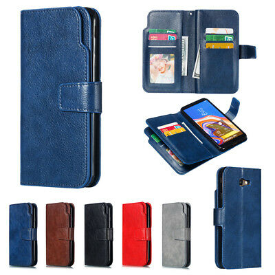 For Samsung Galaxy J4 J6 Plus 2018 Deluxe Flip Leather Wallet Cards Case Cover