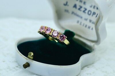 Antique Art Deco Vintage Gold Band Ring with 5 Sapphire Pink Stones size 9 or R