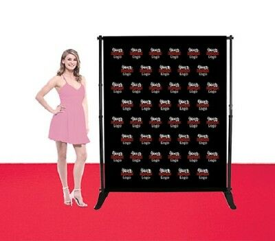 5'X6' Step Repeat Adjustable Banner Stand Telescopic Single Side Fabric Backdrop