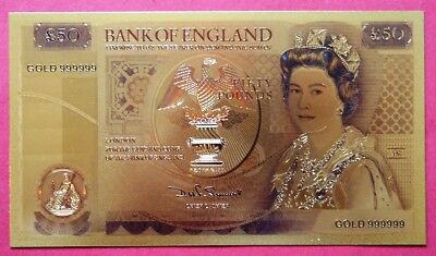 Britain Novelty Non Legal Tender Elizabeth Ii Gold Coloured Fifty Pound Banknote