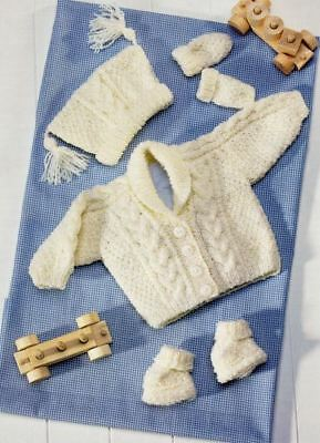 Knitting Pattern Baby/Childs DK Cable Jacket, Hat, Boots & Mittens 41-71 cm(227)