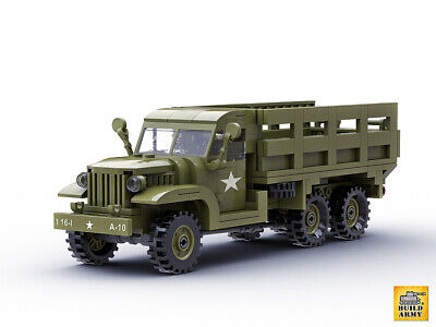 WW2 GMC CCKW truck minifigure set +instruction by Buildarmy® +free Lego panel
