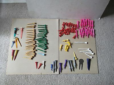 Job Lot Of Vintage ? / Retro & Modern Golf Tees - Some Wooden ??ones Among Them