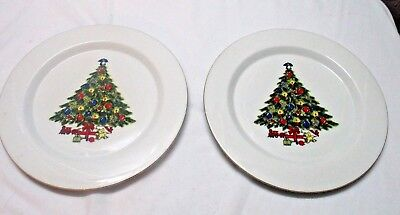 2 Vintage Sea Gull Fine China Christmas Tree Dinner Plate Gold Trim  ✞
