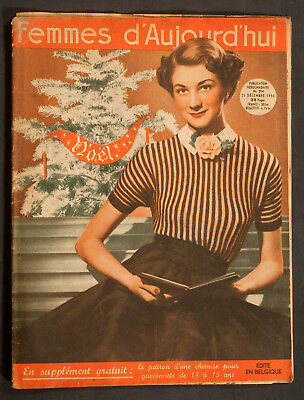 'femmes D'auourd'hui' French Magazine Pattern Christmas Issue 21 December 1950