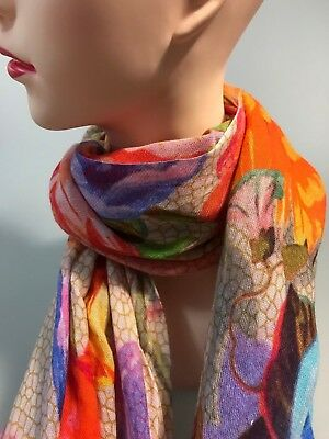 BLUE ILLUSION  Hartlie floral long cotton scarf multi in colour new with tag