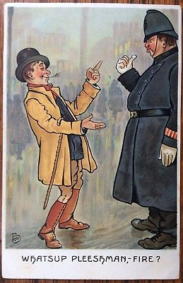 """Antique Artist Signed Comical Pc """"Whatsup Pleeshman- Fire"""" Drunk & Policeman"""