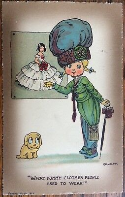 Antique Artist Signed Pc Goggly Eyed Girl In Fancy Clothes With Dog Graeff 1911