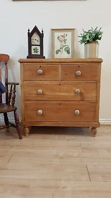 Beautiful Antique Victorian Pine Chest Of Drawers Original Rustic Country Piece