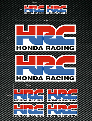 8 x HONDA HRC Stickers/Decals - Red/Blue - High Quality Printed & Cut Stickers
