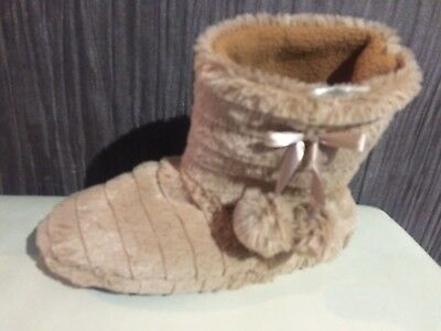 WOMENS FUR ANKLE BOOTS FLUFFY BOOTEE SLIPPERS COSY WARM SLIP ON BOOTIES size 3