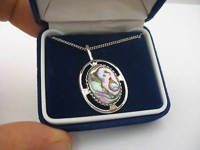 Outstanding & Gorgeous Abalone Mother of Pearl Pendant Vintage Necklace Jewelry