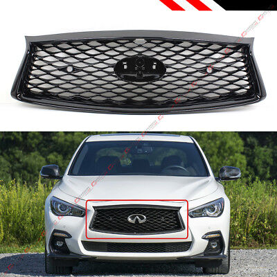 Glossy Black Front Hood Bumper Upper Grill For 2018-19 Infiniti Q50 With Sensors