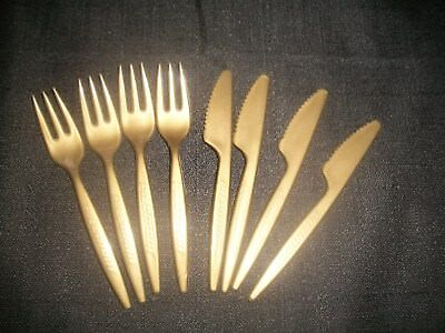 Vintage Piedmont Airlines Plastic Brown Fork And Knives 1980's ~RARE