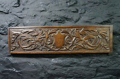 Antique Carved Oak Panel ~ Shield Carving ~ Decorative Wall Display