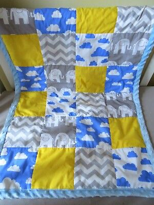 Baby patchwork quilt, blue baby blanket, elephants/clouds/chevron/blue/yellow