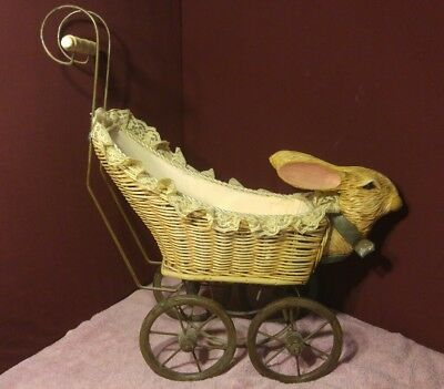 Victorian Doll Carriage Carved Easter Rabbit Baby Stroller Wicker Iron Wood 1920