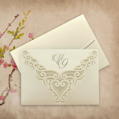 Wedding Invitations Intricate Day/Evening Laces Laser Cut with Pearl Free P*P