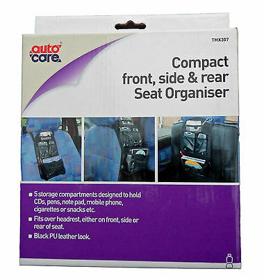 Autocare Compact In-Car Seat Organiser Black Pu Leather Look