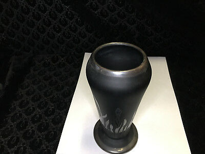 Numbered Rockwell Sterling Silver Overlay Art Deco Black Glass Vase Grass