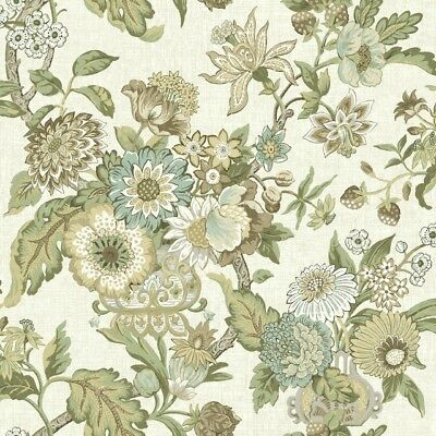 York Wallcoverings GC8700 Global Chic Graceful Garden Wallpaper cream, brown,