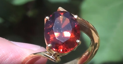 Malaya Garnet 5.40ct,18ct Solid Gold Ring,Resizable 6.5-9.5,Now 8,Natural,VVS/IF