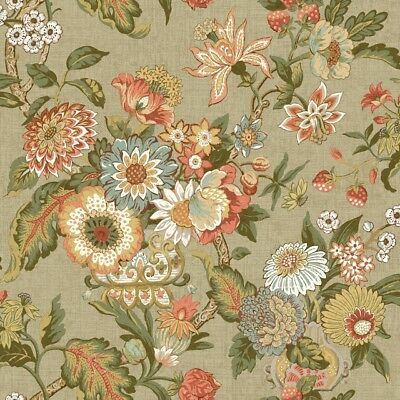 York Wallcoverings GC8704 Global Chic Graceful Garden Wallpaper light tan,