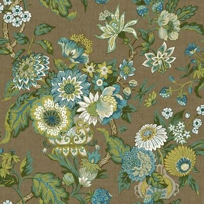 York Wallcoverings GC8705 Global Chic Graceful Garden Wallpaper brown, aqua,